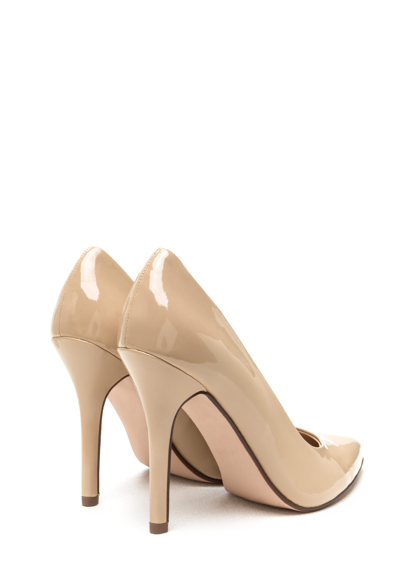 Pointy Toe Faux Patent Pumps DKBEIGE