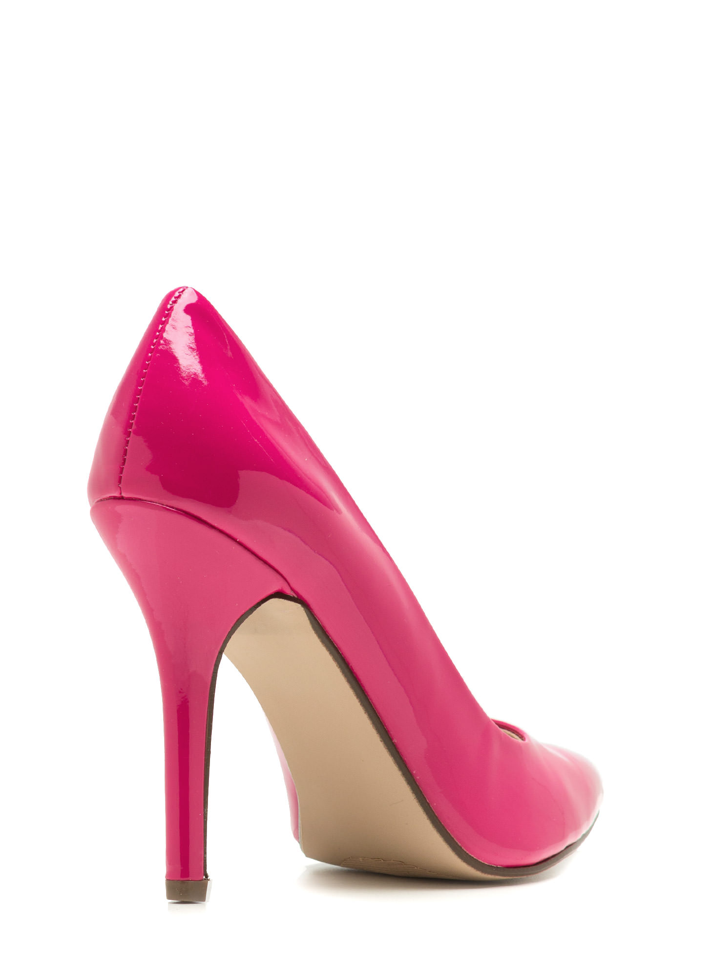 Pointy Toe Faux Patent Pumps HOTPINK