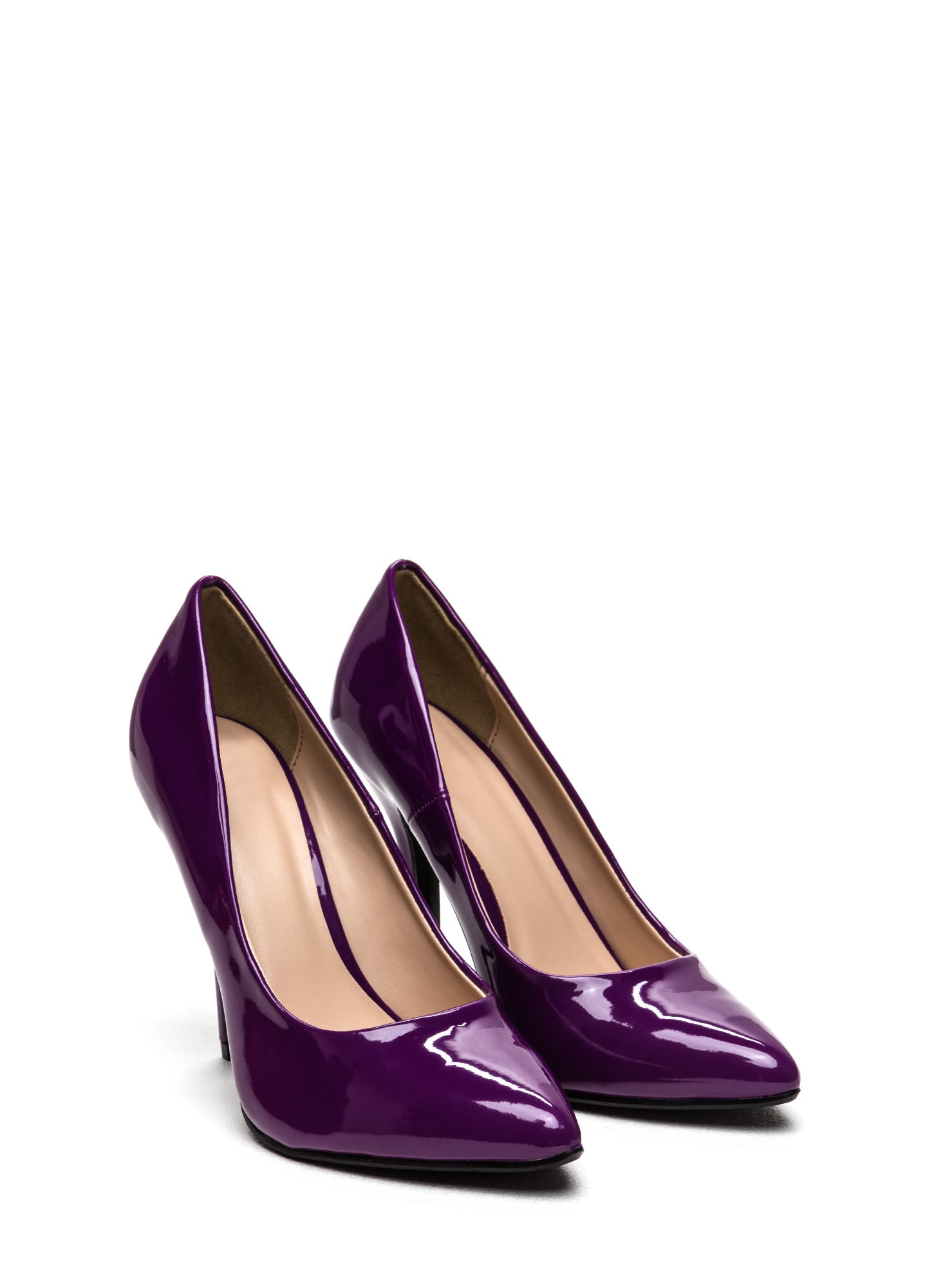 So Refined Pointy Faux Patent Pumps PURPLE
