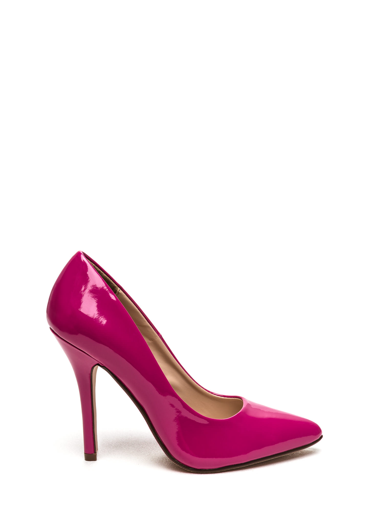 So Refined Pointy Faux Patent Pumps RASPBERRY