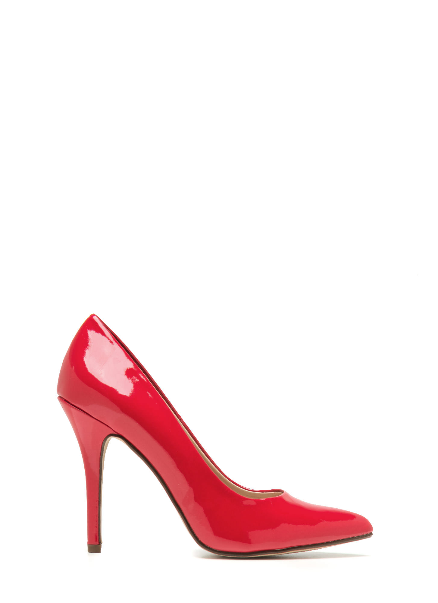 Pointy Toe Faux Patent Pumps RED