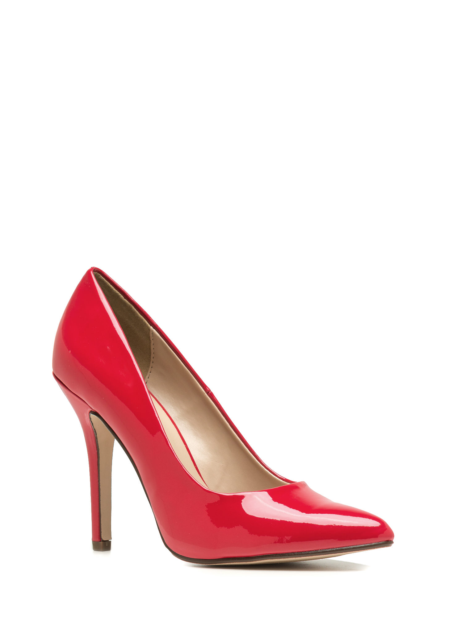 So Refined Pointy Faux Patent Pumps RED