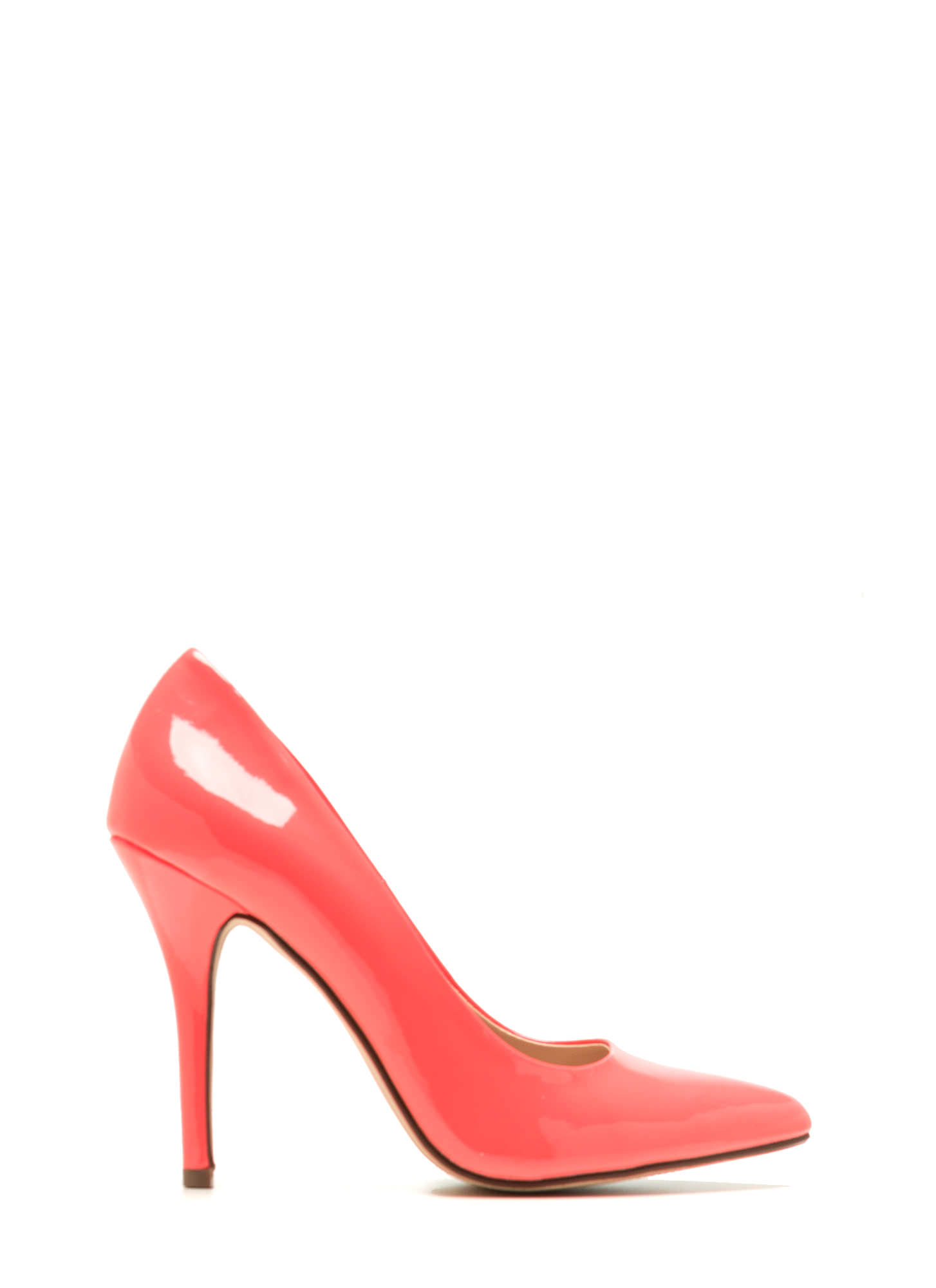 Pointy Toe Faux Patent Pumps SALMON