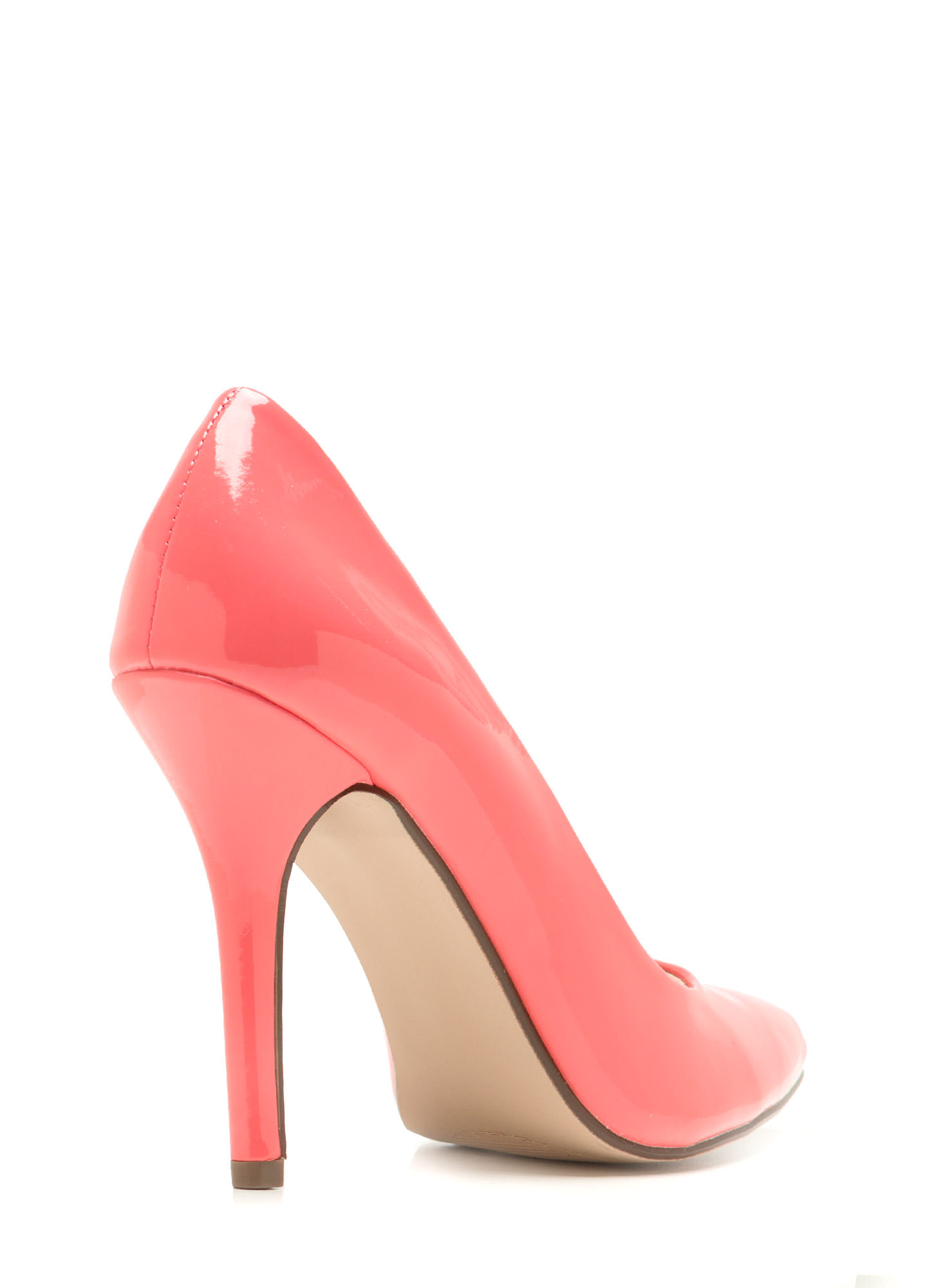 So Refined Pointy Faux Patent Pumps SALMON