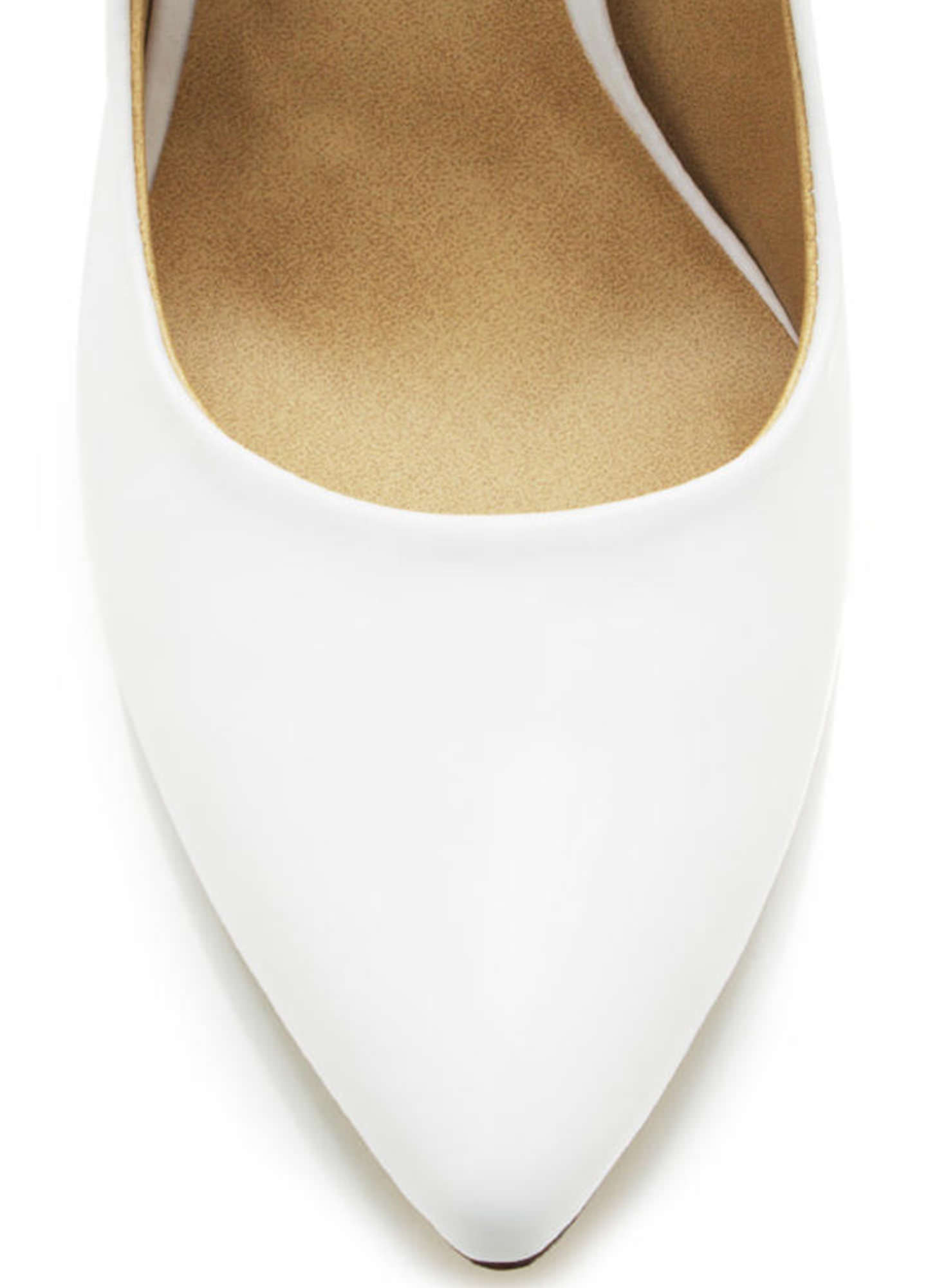 Pointy Toe Faux Patent Pumps WHITE
