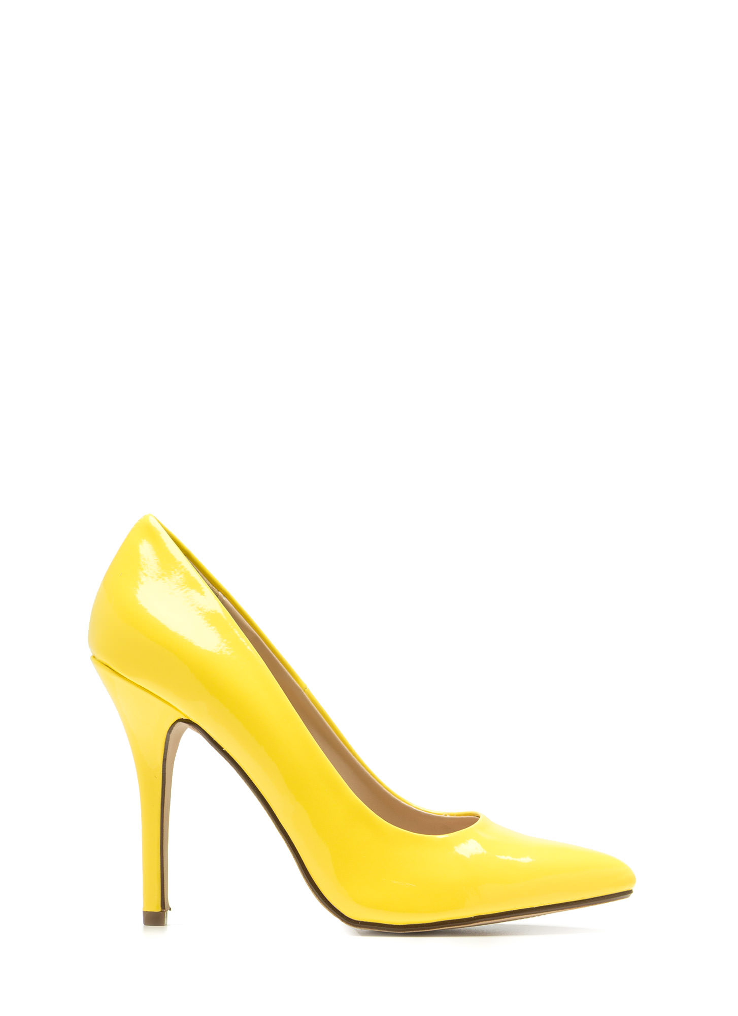 So Refined Pointy Faux Patent Pumps YELLOW
