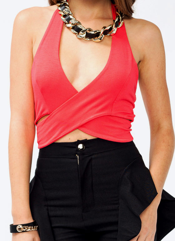 Cropped V Neck Top CORAL