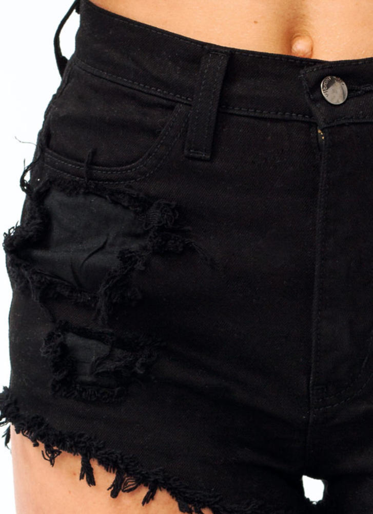 Distressed High Waisted Shorts BLACK