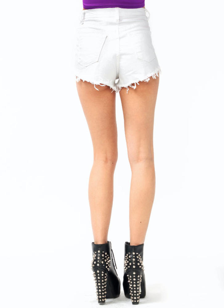 Distressed High Waisted Shorts WHITE