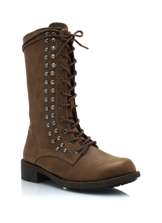 Studded Combat Boots TAUPE