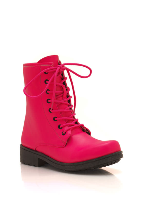 Faux Leather Combat Boots NEONPINK