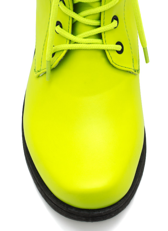 Faux Leather Combat Boots NEONYELLOW