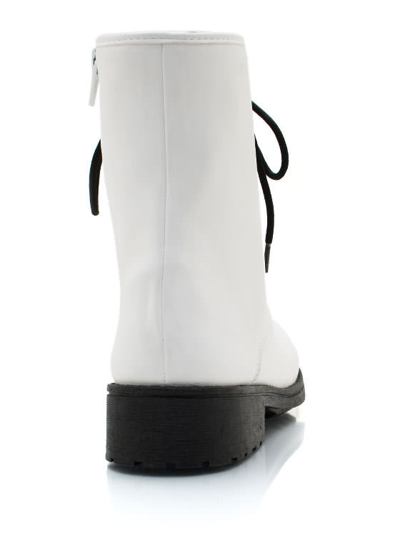 Faux Leather Combat Boots WHITE