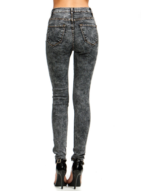 High-Waisted Acid Wash Jeans BLACK