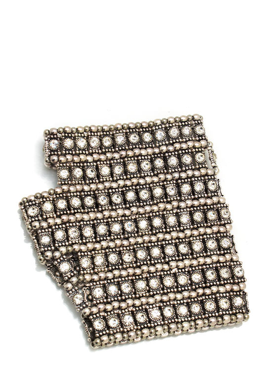 Embellished Fingerless Glove SILVER