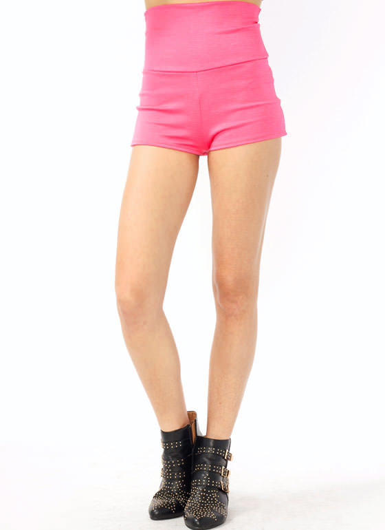 High-Waisted Shorts NEONPINK (Final Sale)