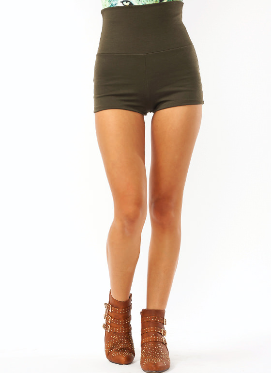 High-Waisted Shorts OLIVE