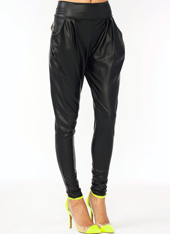 Faux Leather Harem Pants BLACK