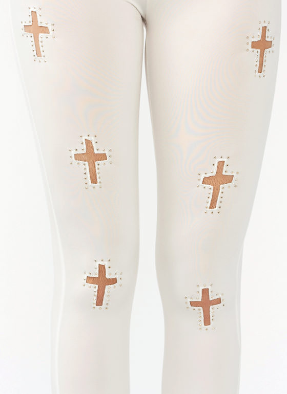 Studded Mesh Cross Leggings IVORY