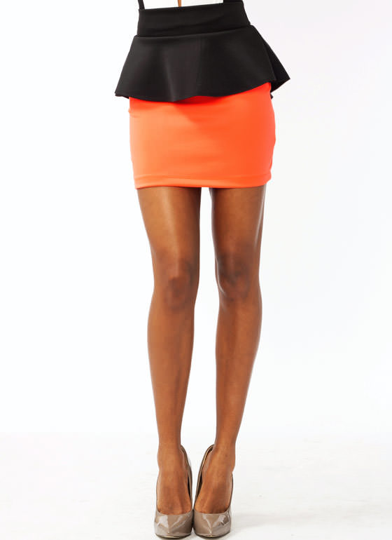 Two Tone Peplum Skirt NCORALBLK