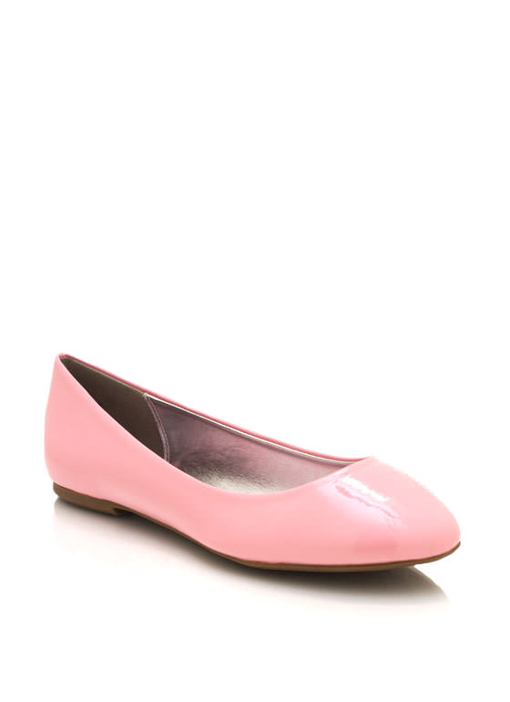 Faux Patent Leather Flats PINK