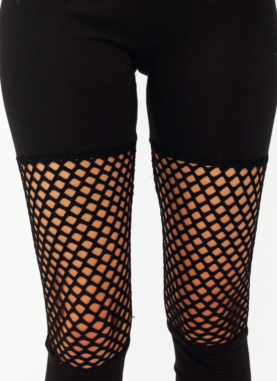Net Inset Leggings BLACK
