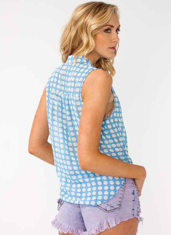Polka Dot Tie Front Top BLUE