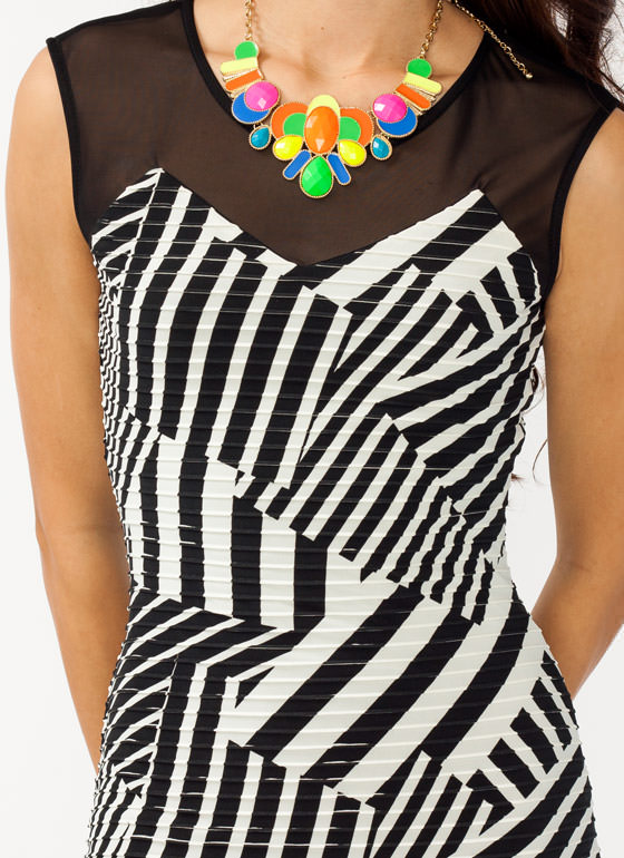 Abstract Striped Dress BLACKWHITE