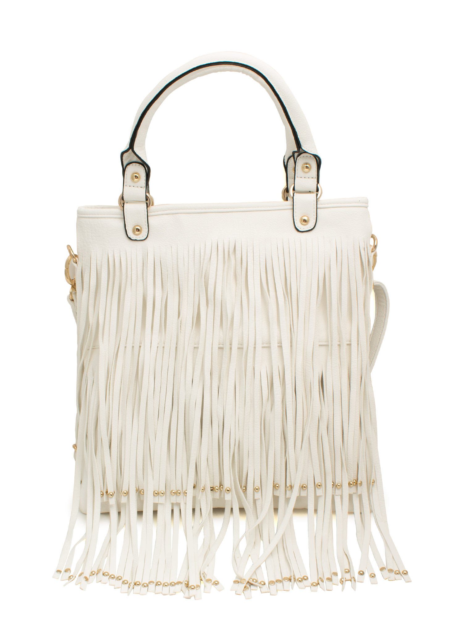 Studded Fringe Bag WHITE