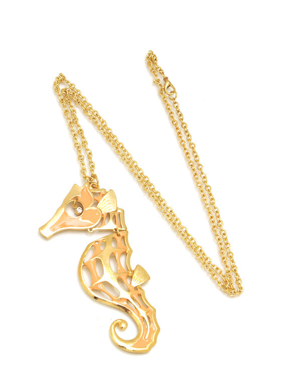 Cut Out Seahorse Charm Necklace GOLDPEACH