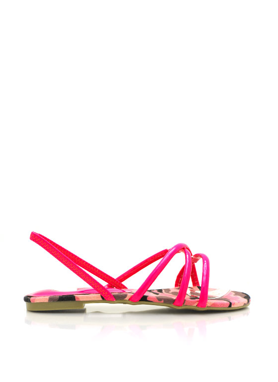 Strappy Faux Patent Leather Sandals FUCHSIA