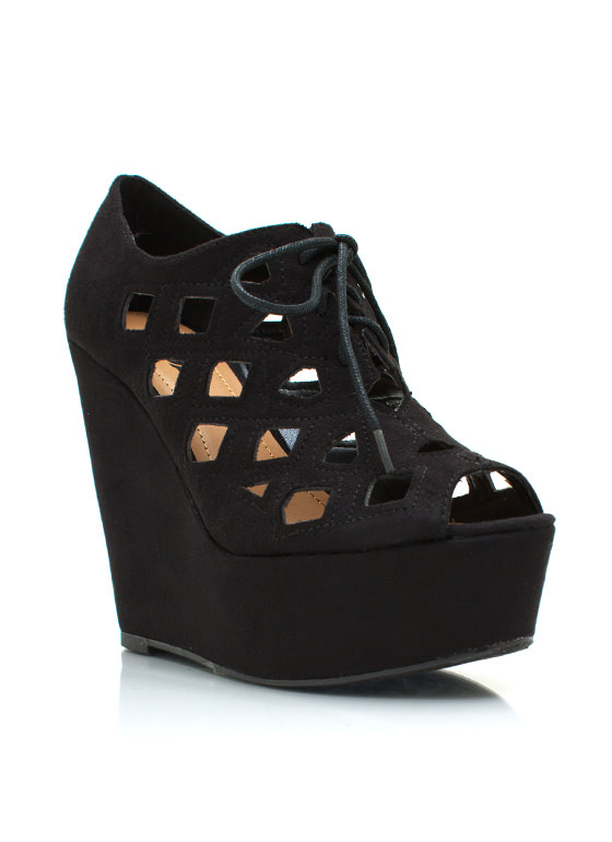 Lace Up Cut Out Wedges BLACK