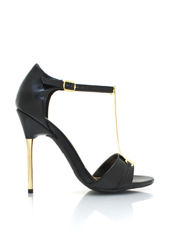 Metal Accent Faux Patent Heels BLACK