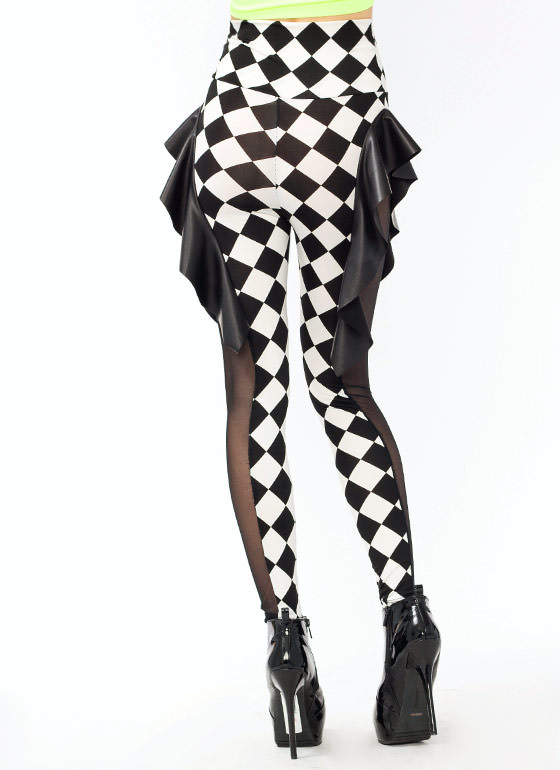 Harlequin Peplum Leggings BLACKWHITE