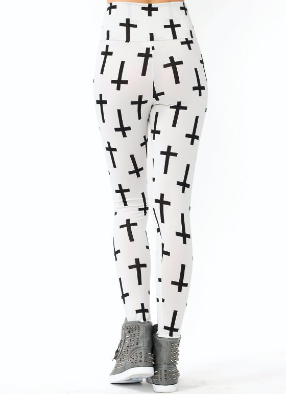 Cross Printed Leggings WHITEBLACK