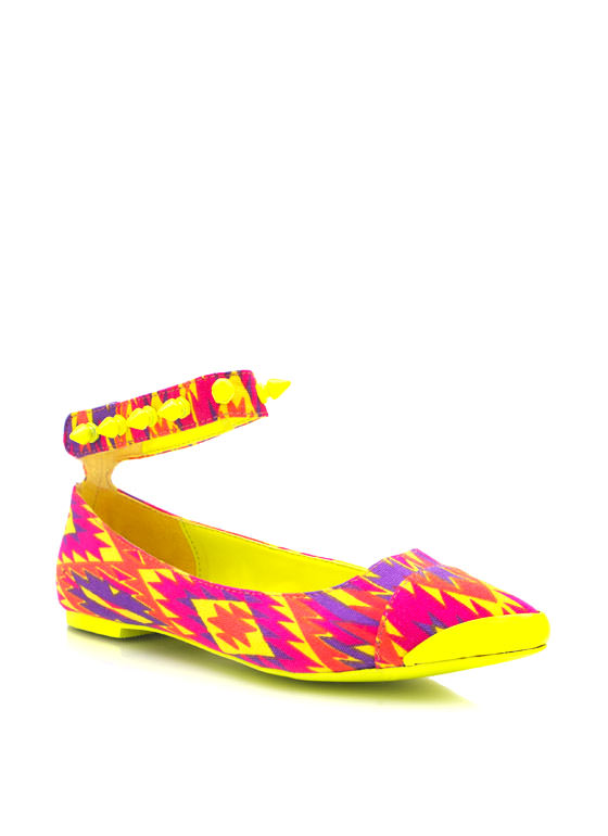 Printed Pointy Toe Flats NEONYELLOW  (Final Sale)