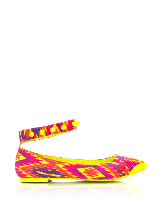 Printed Pointy Toe Flats NEONYELLOW