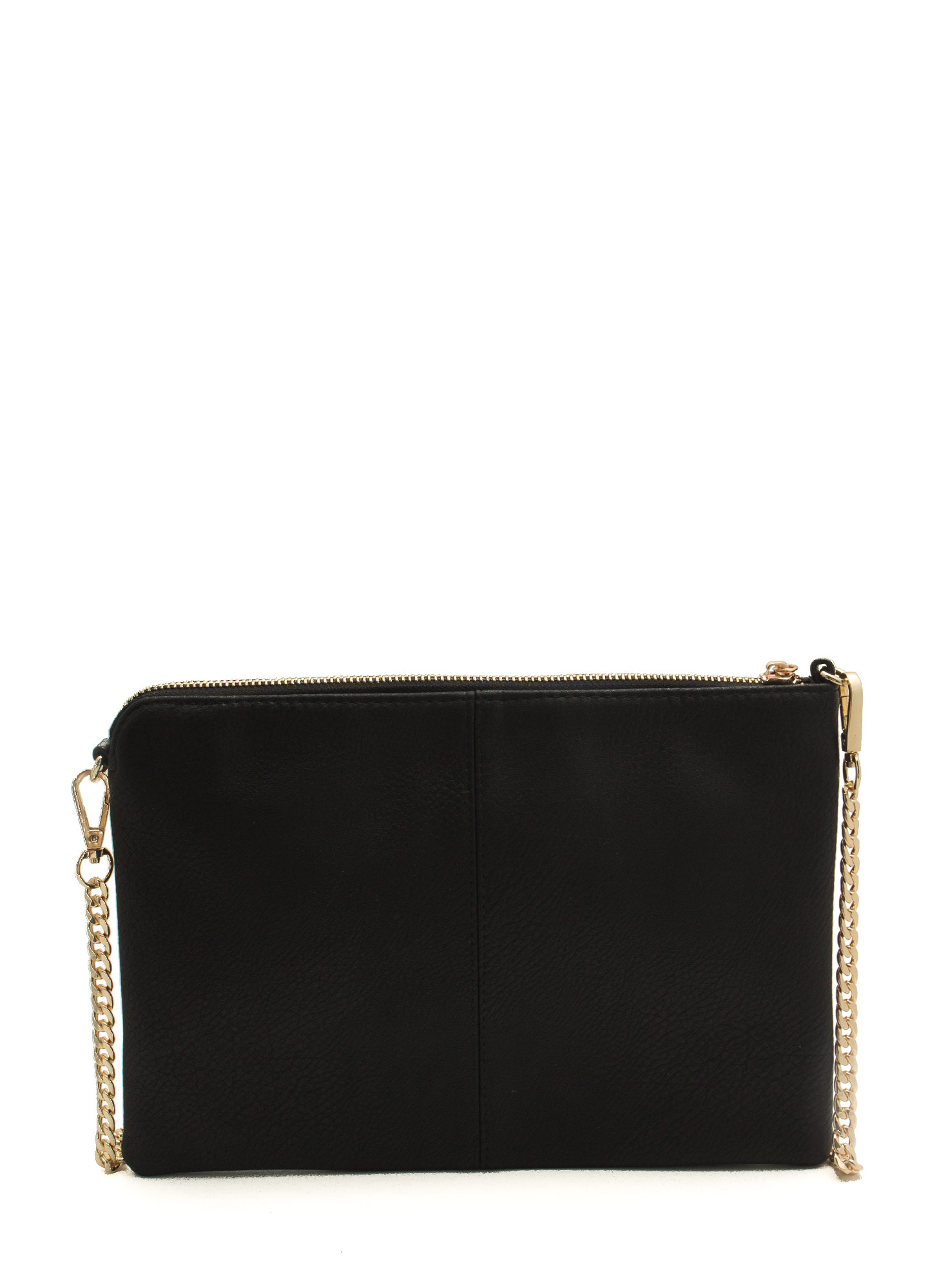 Exposed Tassel Zipper Clutch BLACK