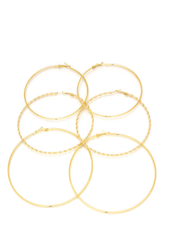 Twisted Oversized Hoop Earring Set GOLD