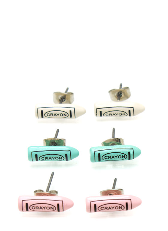 Mini Crayon Earring Set MINTMULTI