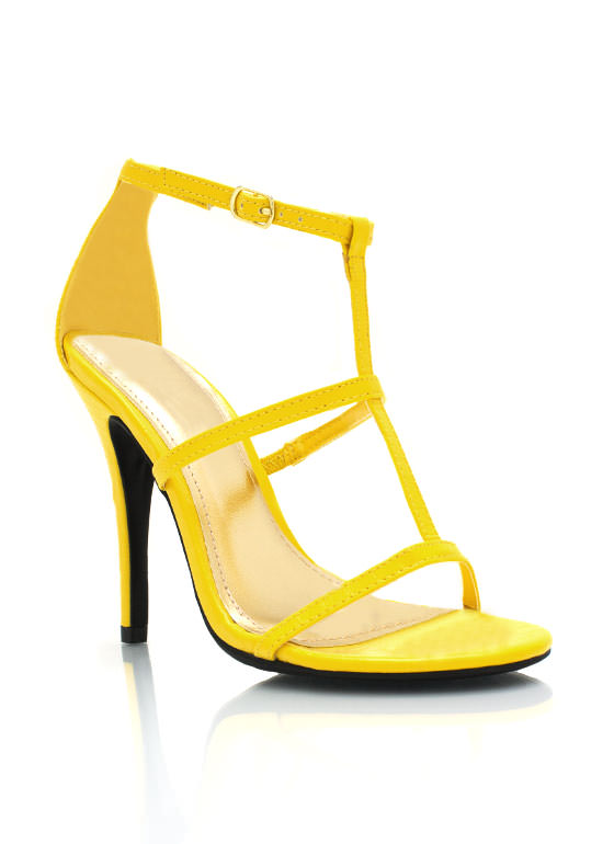 Strappy Single Sole Reptile Heels YELLOW