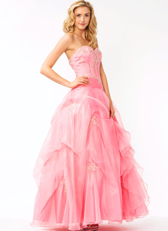 Strapless Floral Embellished Formal PINK