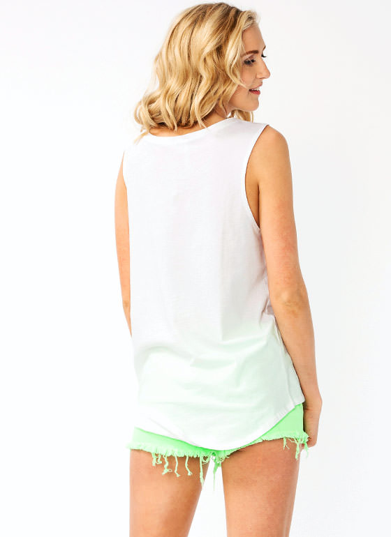Tiger Graphic High Low Tank WHITE