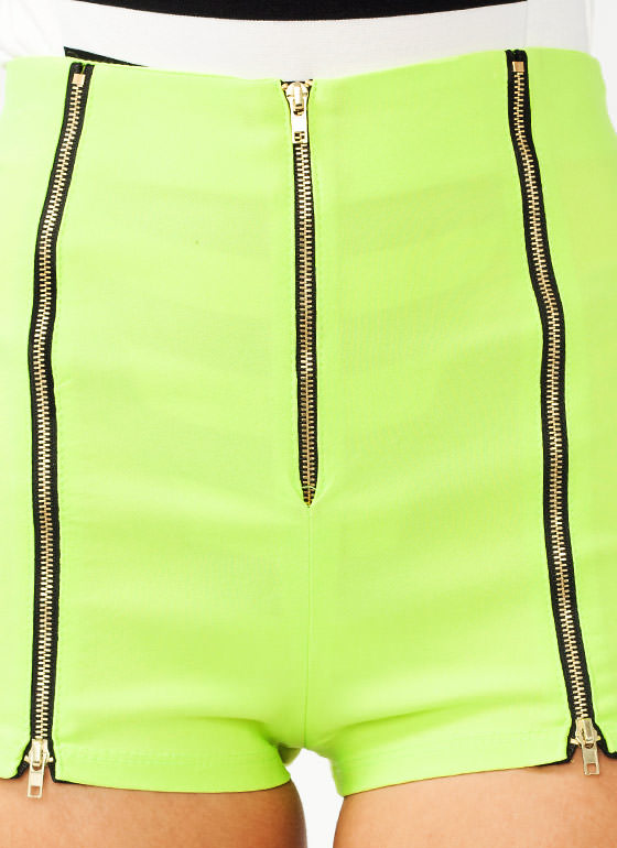 Zipper Accent High Waisted Shorts NEONLIME