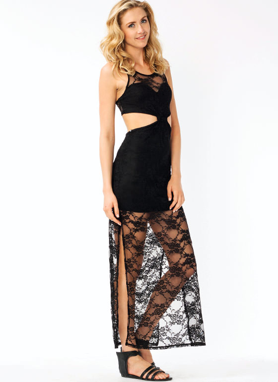 Lace Cut Out Maxi Dress BLACK