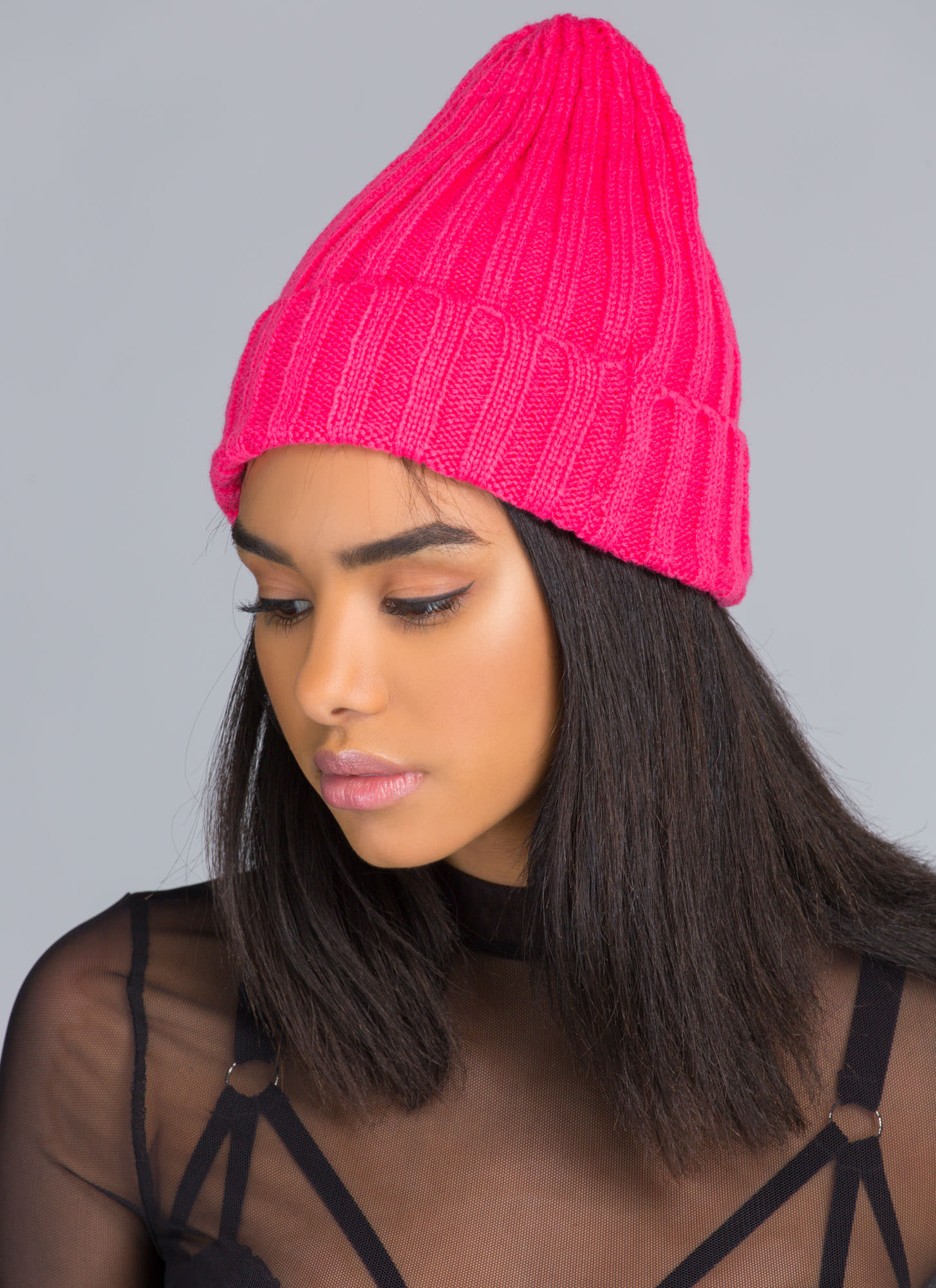 Knit 'N Ribbed Beanie PINK