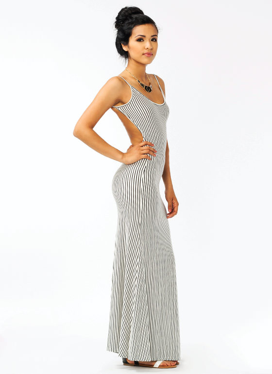 Striped Maxi Dress IVORY
