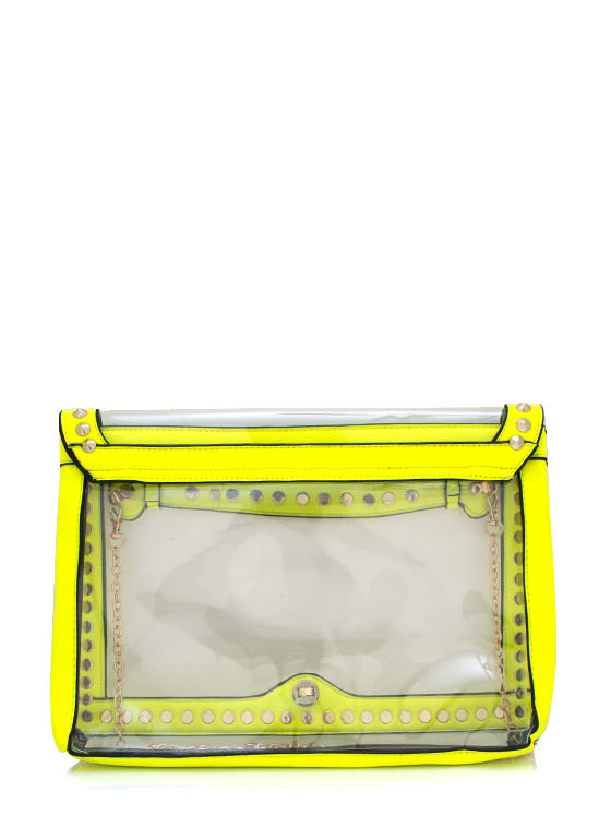 Spiked Futuristic Pvc Clutch NEONYELLOW