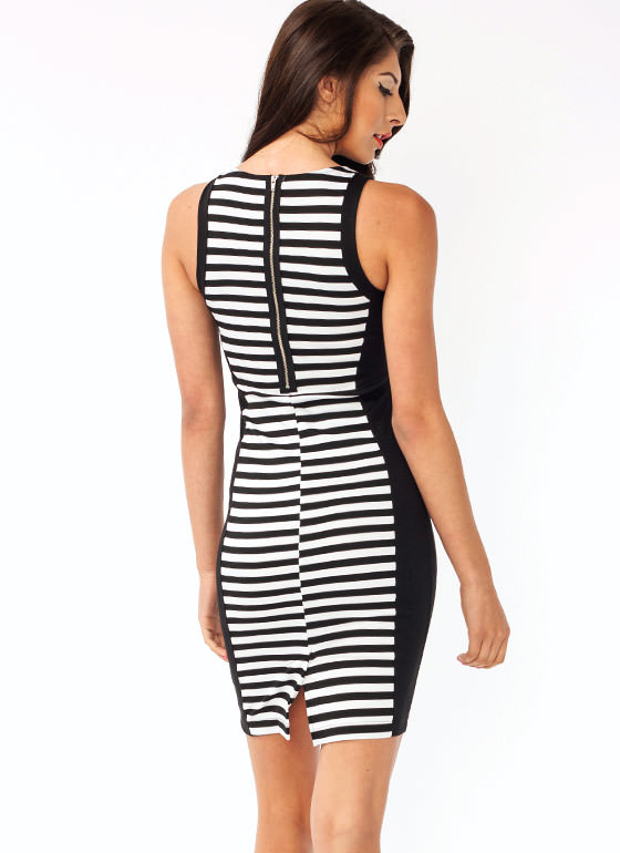 Striped Contrast Dress BLACKWHITE