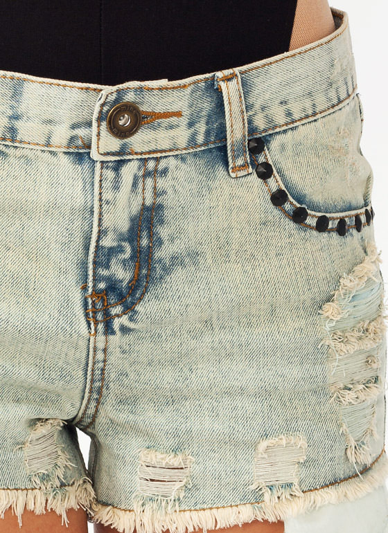 Distressed Studded Denim Shorts LTBLUE